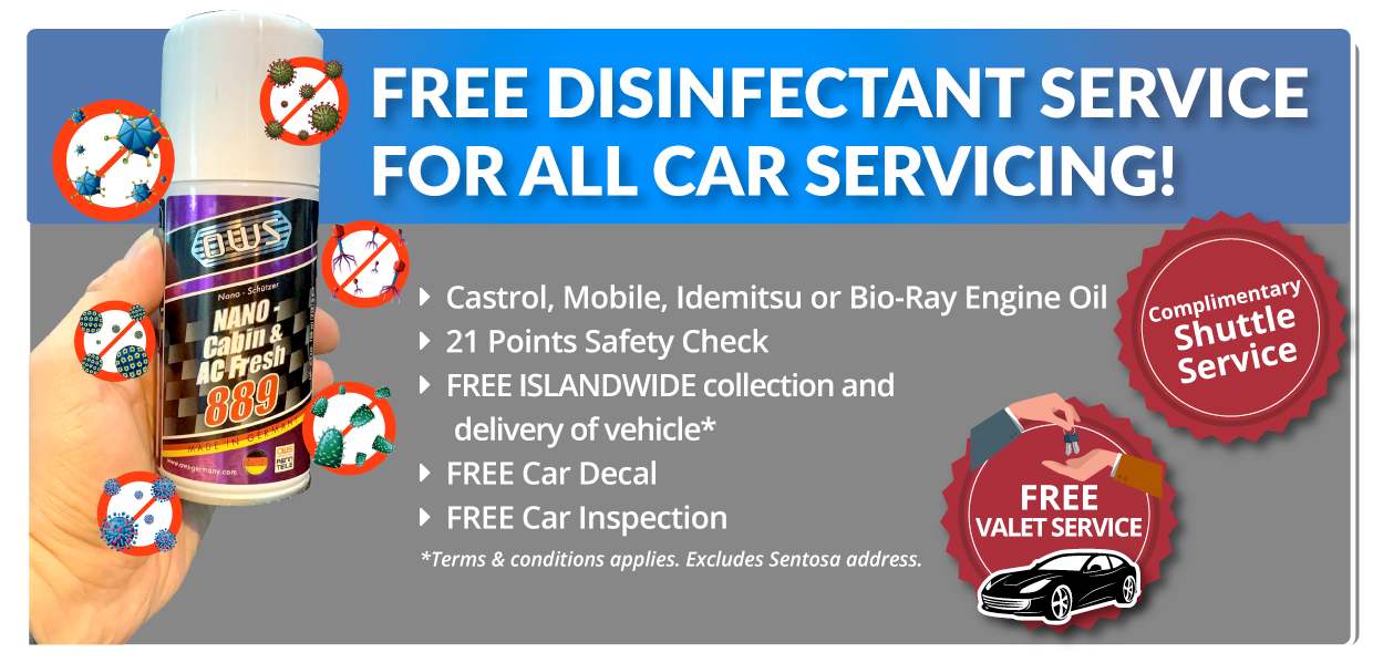 free disinfectant service for all car servicing