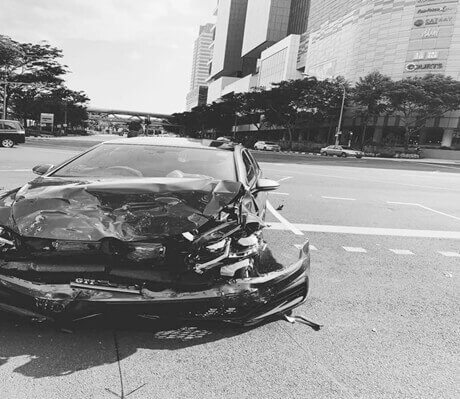 A picture of a damage car as a proof to car insurer