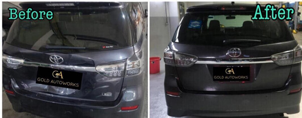 A comparison of a car before and after repair at a car workshop